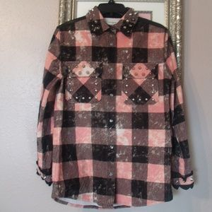 Coach Tops - Coach Studded Leather Plaid Shirt  Pink/Black NWOT